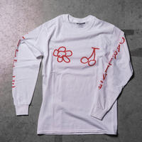 CHERRY FLOWER LS TEE (WHITE)