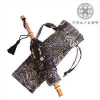 傳(ツタエノヒガサ)浜松注染 日傘/ 3段階折り畳みタイプ「ウサギノタスキ - 黒菊」