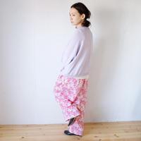 BUNON(ブノン) シルク プリント ワイドパンツ Framingo hand print tuck pants