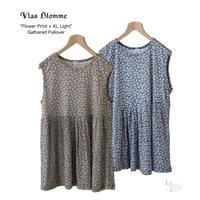 Vlas Blomme(ヴラスブラム)   Flower Print × KL Light  薄手天竺 フラワープリント ギャザータンクトップ 12144501