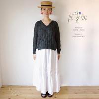 【印刷 編み図:着分をお求めの方のみご注文いただけます】リネン100%  Fillin (フィラン)使用:「水簾 (suiren)」プルオーバー 編み図