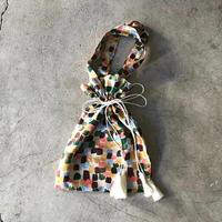 BUNON(ブノン) シルク マルチカラープリント刺繍 巾着ハンドバッグ