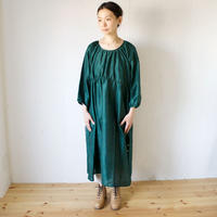 BUNON(ブノン) カディシルク ギャザーワンピース BACK BUTTON DRESS