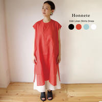 Honnete(オネット)アイリッシュリネン ノーカラーシャツドレス HO-20SS-OP17 [☆]