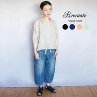 【定番】Brocante (ブロカント)100%リネン グランシャツ 38-042L