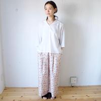 BUNON(ブノン) シルク 花柄プリント+刺繍 ワイドパンツ