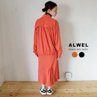 ALWEL (オルウェル)×DESCENTE(デサント):PENCIL MIDI SKIRT/アシンメトリー切替 ペンシルスカート
