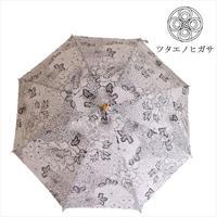傳(ツタエノヒガサ)浜松注染 日傘/ 長傘タイプ「キツネノタスキ - 生成り菊 」