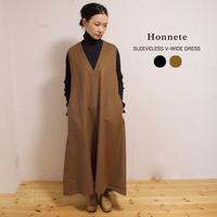Honnete(オネット)カシミアウール Vネック ワンピース SLEEVELESS V-WIDE DRESS