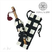 傳(ツタエノヒガサ)浜松注染 日傘/ 3段階折り畳みタイプ「ウサギノタスキ -黒枡 」