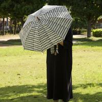 傳(ツタエノヒガサ)浜松注染 日傘/ 3段階折り畳みタイプ「ウサギノタスキ -キラキラ白」