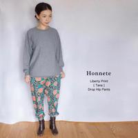 Honnete(オネット)DROP HIP PANTS リバティプリント イージーパンツ