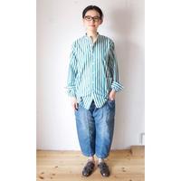 YARMO(ヤーモ)  Band Collar Shirts / Candy Stripe キャンディーストライプ バンドカラーシャツ