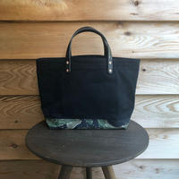 washed canvas tote bag  ( black × Tiger)