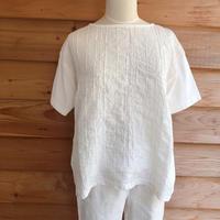 Natural laundry ストライプ刺繍ホワイトカットソー