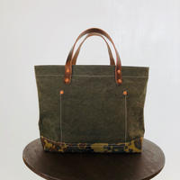 washed canvas tote bag  ( Green  × White × camo)