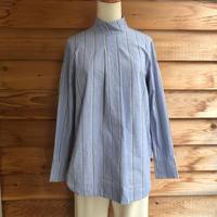 FIL DE FER ボイルストライプハイネックシャツ Blue
