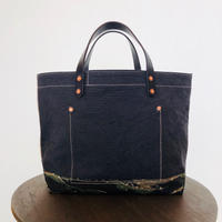 washed canvas tote bag  ( Navy  × White × tiger camo)