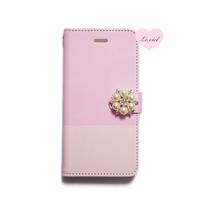 ♡名入れ対応♡手帳型ケース  ピンク/ピンク バイカラー×パールビジュー