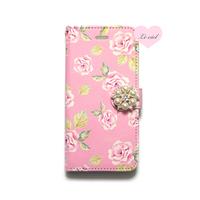 ♡名入れ対応♡手帳型ケース ピンクベースローズ×パールビジュー