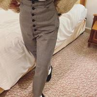 high-waist check pants