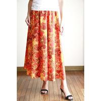 Long Flared Skirt オレンジプルメリア ロングフレアースカート HNLS02877-26710