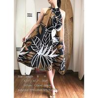 Ginger Dress ブラック パームリーフ ジンジャードレス HNLS02565-55610