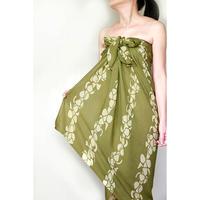 Hawai'ian Pareo    PUAKENIKENI   OLIVE GREEN / YELLOW   HNLS03087-1460