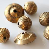 真鍮ラインボール1.5㎝ ビーズ フランスヴィンテージパーツ デッドストック