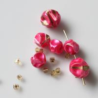 【ビーズセット】変形ドローイング模様 70年代チェコ(ピンク)