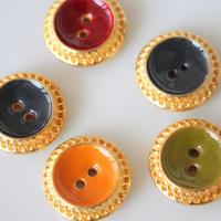 ゴールド縁エナメルボタン(各色)四つ穴23㎜ フランス