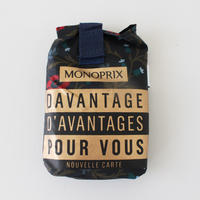 【限定2個】パリのスーパーMONOPRIX エコバッグ ネイビー花柄
