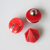 【ボタンセット】赤にシルバー柄のガラスボタン3個セット フランスヴィンテージ