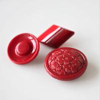 【ボタンセット】深い赤のガラスボタン3個セット フランスヴィンテージ