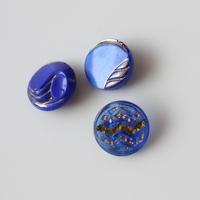 【ボタンセット】濃いブルーのガラスボタン3個セット フランスヴィンテージ