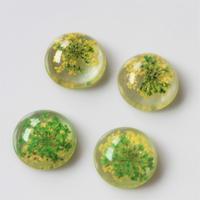 フランス花カボション1.9㎝ yellow×greenアクリルフラワーパーツ