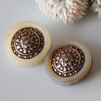 【ボタンセット】センター装飾縁のフランスボタン 2個set ヴィンテージボタン 一つ穴20ミリ