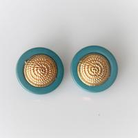 【ボタンセット】france vintage  青緑の縁ボタン2個セット 352