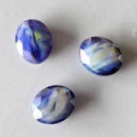 オーバルカットガラスビーズ 1.7㎝(blue) フランスヴィンテージ  デッドストック