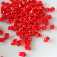 斜めビーズ (red)4g 70年代チェコガラス フランスヴィンテージ