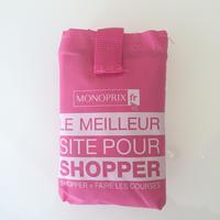 パリのスーパーMONOPRIX エコバッグ ピンク(ロゴ白)