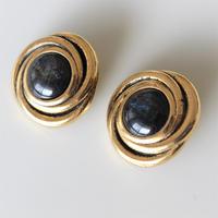 【ボタンセット】センター黒ゴールドメタルボタン france vintage  2個set フランスボタン