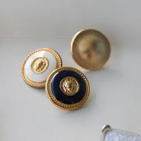 ゴールドメタル リングボタン濃紺 一つ穴17㎜ フランス現代ボタン