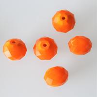 楕円カットガラスビーズ 1.5㎝(orange) フランス  デッドストック