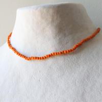 ビーズネックレス(オレンジ) フランスヴィンテージ デッドストック