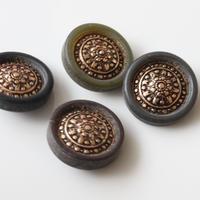 センター装飾黒縁のフランスボタン ヴィンテージボタン 一つ穴20ミリ