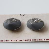 【ボタンセット】france vintage ガラスボタン楕円グレー 2個セット フランス