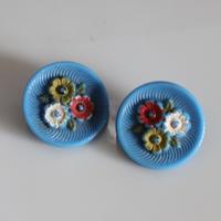 【ボタンセット】france vintage お花ガラスボタン 2個セット フランス