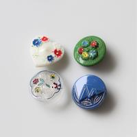 【ボタンセット】チェコガラスボタン4個セット フランスヴィンテージ