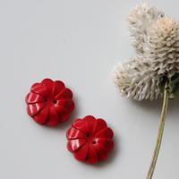 真っ赤な花のフランスボタン【2個セット】 ヴィンテージボタン 二つ穴20ミリ